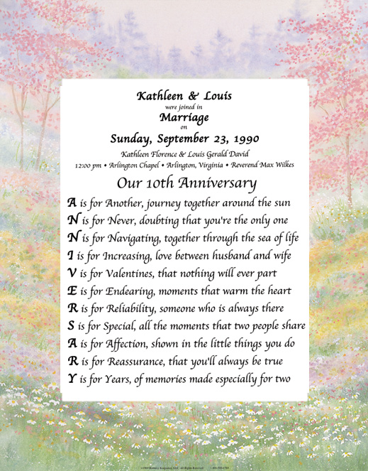 Wedding anniversary designs