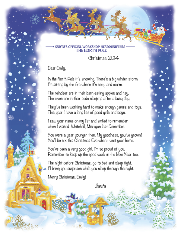 Birthday keepsakes personalized letter from santa samples santa at midnight santas cabin spiritdancerdesigns Images