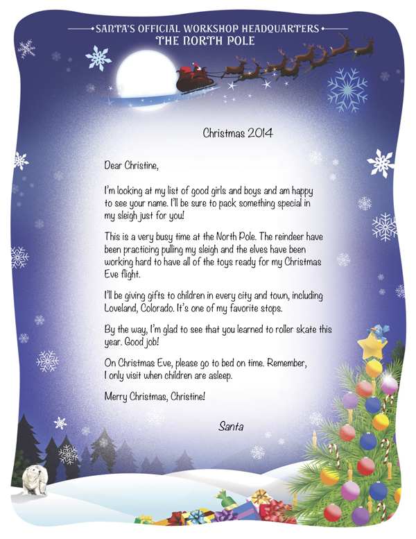 personalized letters from santa santa at midnight santa s cabin sleigh ...